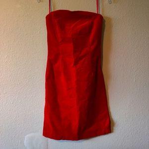 VINTAGE Esprit Strapless Corduroy Mini Dress Red
